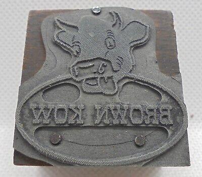Vintage Printing Letterpress Printers Block Cow Animal Brown Kow