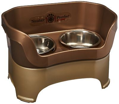 Neater Feeder Deluxe Large Dog (Bronze) - The Mess Proof Elevated Bowls No Slip