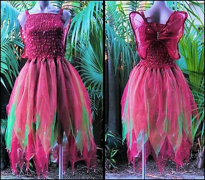 PLUS SIZE Fairy Dress Party Costume with Wings - MAROON and GREEN - Plus Size Green Fairy Costume