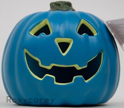 Halloween Spooky Village 7.5 in Teal Battery Operated Jack O Lantern Pumpkin NWT
