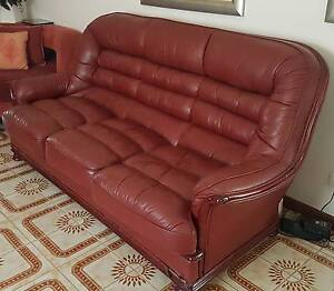 Set of Burgundy genguine leather sofa (1 x 3 seat, 2 x single) Greenfield Park Fairfield Area Preview
