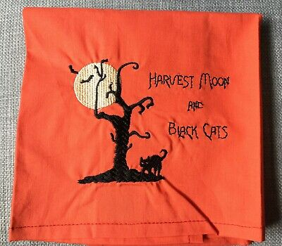 """Harvest Moon & Black Cats"" Embroidered Orange Kitchen/Bathroom Cotton Towel"