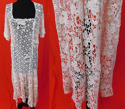 Vintage Edwardian White Crochet Mixed Lace High Low Handkerchief Hem Skirt Dress
