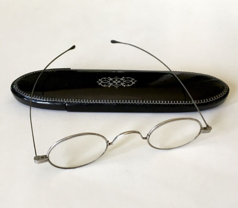 Antique c1800s Spectacles In Sterling Silver Inlaid Case Civil War