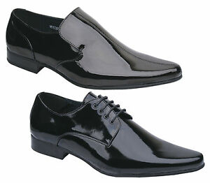 New-Mens-Black-Patent-Leather-Lined-Formal-Wedding-Dress-Shoes-Free-Uk-Postage