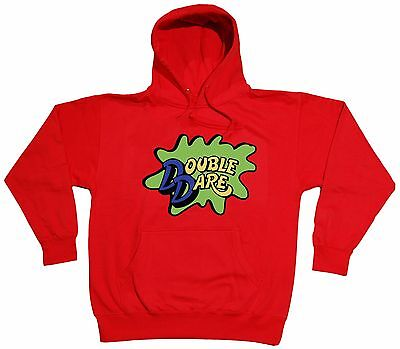 RED Double Dare Logo Nickelodeon Costume Hooded SWEATSHIRT HOODIE - Double Dare Costume