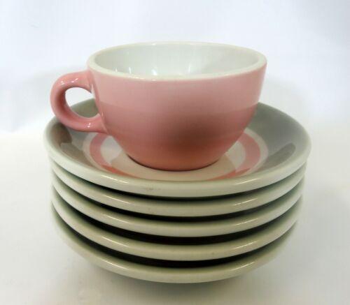 Shenango China Restaurant ware Pink and Gray SHO55 Cup Saurcers 1950