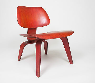 Eames Herman Miller Early 50's LCW Early Red Aniline, All Original Lounge Chair for sale  Hershey