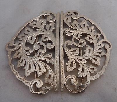 Victorian Silver Belt Buckle Deakin & Francis Birmingham 1898 8cm x 6.7cm A60201
