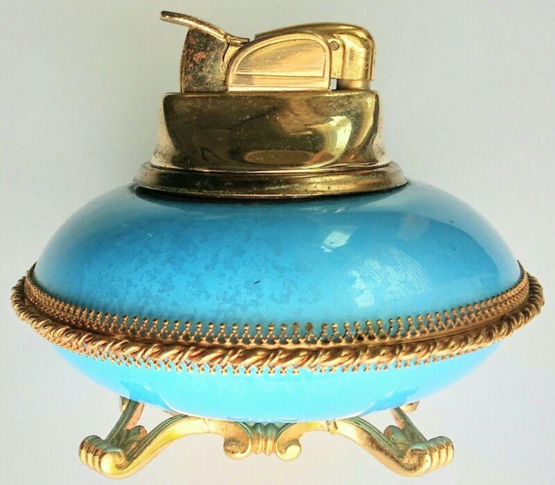 VINTAGE BLUE ENAMEL EVANS ELEGANCE TABLE LIGHTER - LOOK !