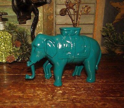 Antique Vtg Williams Cast Iron Elephant Turquoise Bank Restored Paint XMAS GIFT