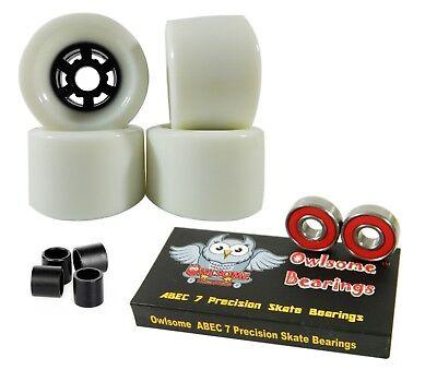 Owlsome Pro 90mm Longboard White Flywheels + ABEC 7 Bearings + Spacers