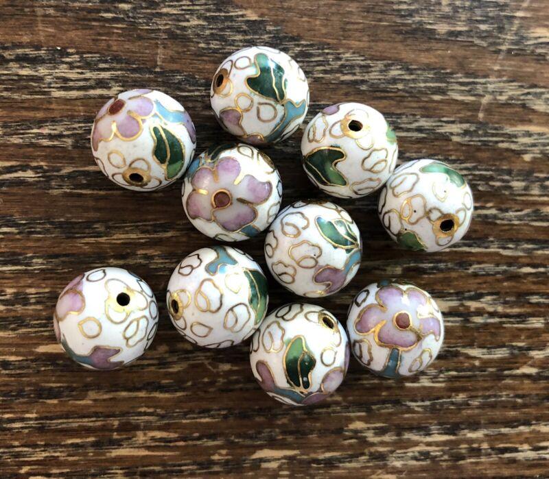 Vintage Genuine Asian White Multi Floral Cloisonné Enamel Metal Round Bead Lot