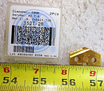 New Acme 152t-28 2 Ta Super Cobalt Tin Coated 28mm 1.102 Dia Spade Drill Insert