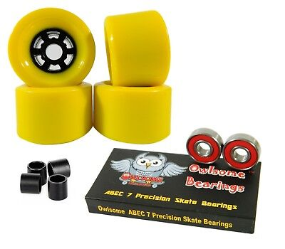 Owlsome Pro 90mm Longboard Yellow Flywheels + ABEC 7 Bearings + Spacers