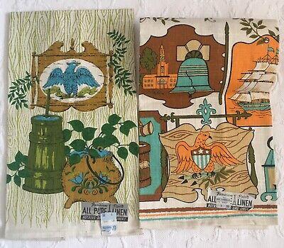 2 Vintage Linen Tea Towels~PARISIAN PRINTS Eagle Americana UNUSED NOS!