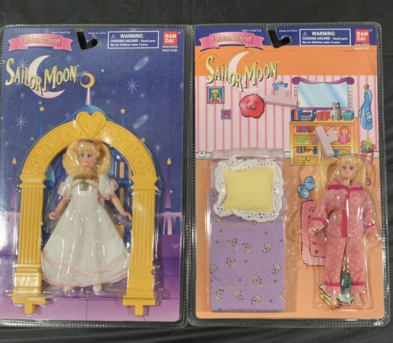 2 sailor moon doll fashion playset dream castle new
