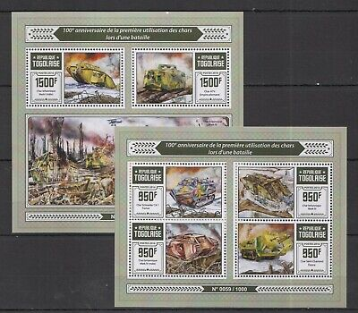 TG245 2016 TOGO MILITARY 100TH ANNIVERSARY FIRST USE TANKS OF BATTLE KB+BL MNH