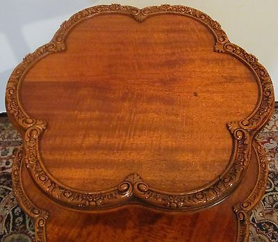 FINE CUSTOM FRENCH CARVED SATINWOOD PIE CRUST 2 TIER TABLE W/SNAIL CARVED FEET ()