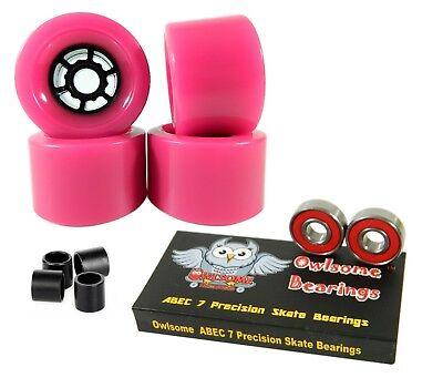Owlsome Pro 90mm Longboard Pink Flywheels + ABEC 7 Bearings + Spacers