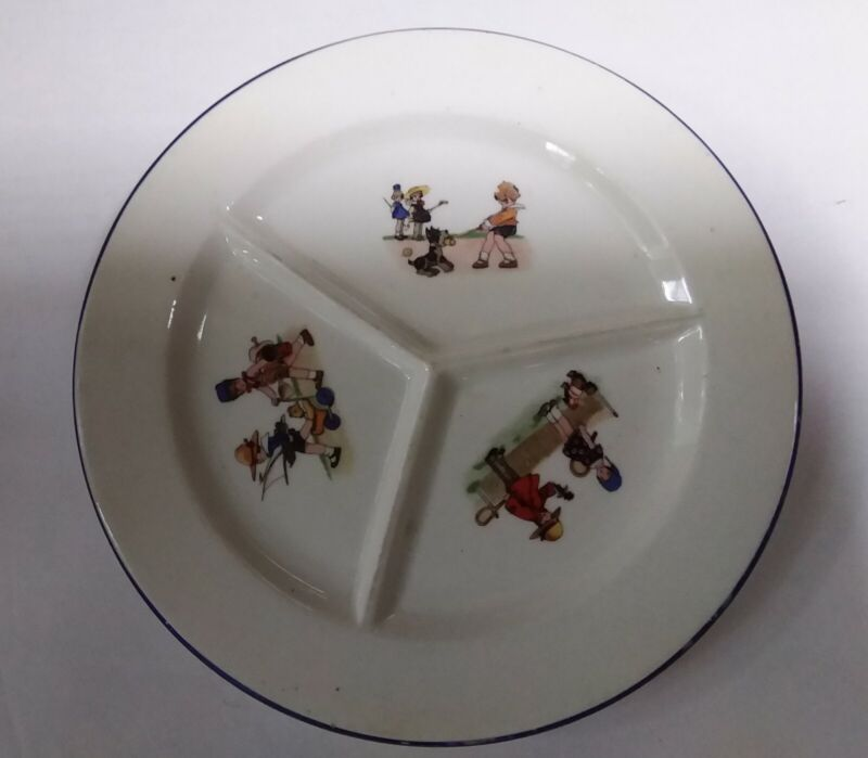 Vintage Childrens Childs Dish 3 Sections Czechoslovakia