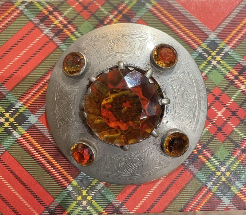 HUGE VINTAGE SCOTTISH SIGNED CAIRNGORM KILT OR PLAID BROOCH - SCOTLAND