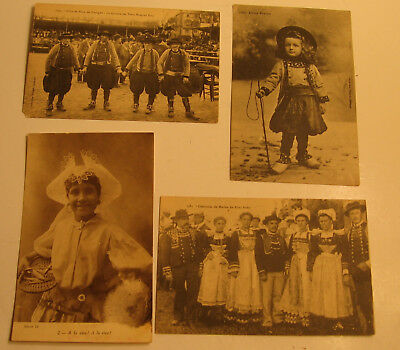 Four Foreign Postcards of  People in Costumes Circa 1940's or - Foreign Costumes