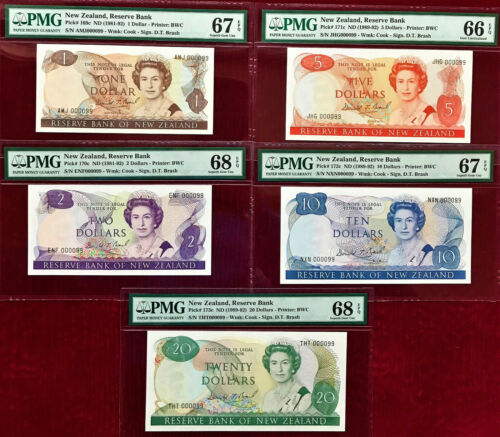 New Zealand 1989 MATCHING 1st Prefix LOW 000099 $1 to 20 GEM UNC PMG 66 - 68 EPQ