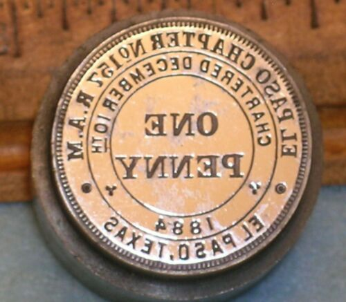 1911 EL PASO TX Chapter 157 RAM MASONIC PENNY Stamping Die * MC Lilley