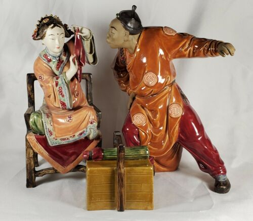Chinese Mudman 3 Piece Comedy Picnic Set Large Statues