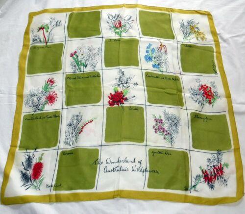 Vintage Scarf Souvenir Australia Wild Flowers Francois by Heil Designer
