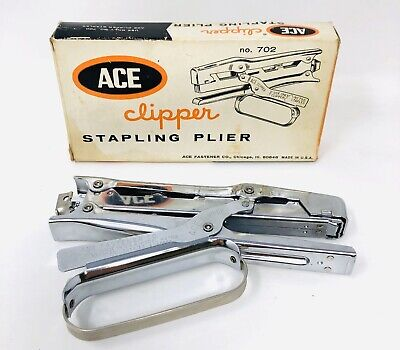 Vintage Chrome Hand Grip Ace Fastener Staple Clipper Model 702 Original Box Dk21