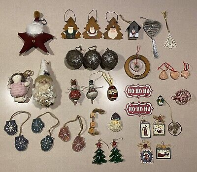 Lot Of 35 COUNTRY CHRISTMAS ORNAMENTS Santa Angel Mittens Tree Wooden Metal MORE