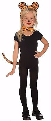 Kids Tiger Costume Kit Ears Headband Tail Bow Tie Girls Child Orange Striped Cat