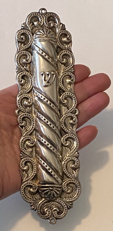 "Vintage Filigree Sterling Silver Jewish Doorpost Mezuzah Case 6-1/2"",27g Judaica"