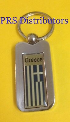 GREECE KEYCHAIN GREECE FLAG Keychains GREECE CHROME METAL KEYCHAIN KEY CHAIN