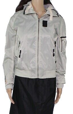 Superdry Women Jacket Silver Gray Size Small S Hood Contrast Zip Front $175 #059