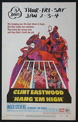 Hang  Em High Clint Eastwood Western 1968 Window Card Movie Poster