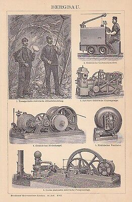 Mining Mine Förderhaspel Grubenpumpe Wood Engraving um 1900 Mine Locomotive