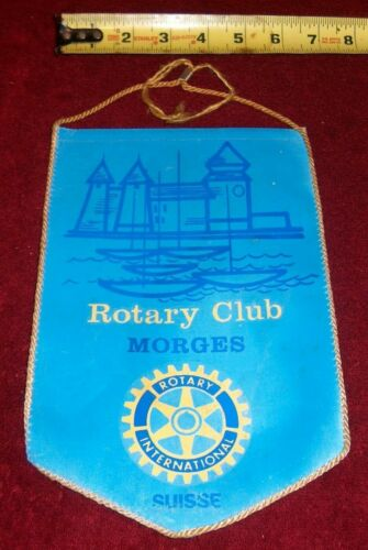 VINTAGE Rotary International Club wall banner flag     MORGES    SUISSE