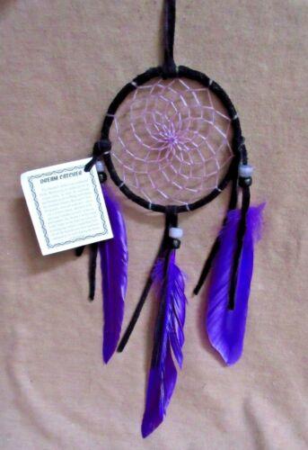 Native Navajo Handmade Medium Size Black Leather w/ Purple Dream Catcher  M0241