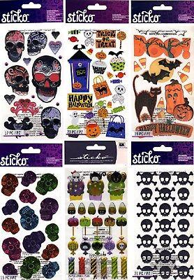 Halloween Scrapbook Embellishments (U CHOOSE Sticko HALLOWEEN Stickers TRICK OR TREAT CANDY SKULLS BAT CAT)