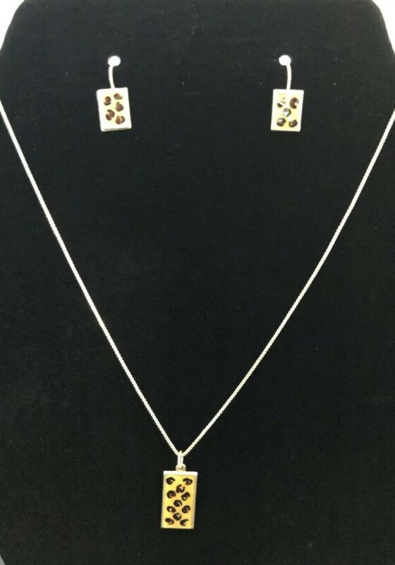 """925 Sterling Silver Leopard Necklace Earring Set 18"""" Chain"""