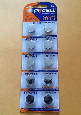 10 Pieces AG 13 LR44 G13 A76 1.5 volt Button Cell Battery 1 Pack Fresh Alkaline