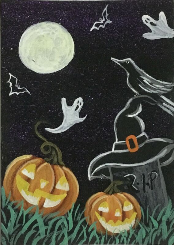 ACEO Original Halloween Acrylic Sketch Card Tombstone witch hat crow ghosts bats