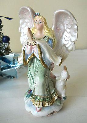 Vintage Rare Christmas Praying Angel Figurine Peaceable Kingdom Fitz & Floyd