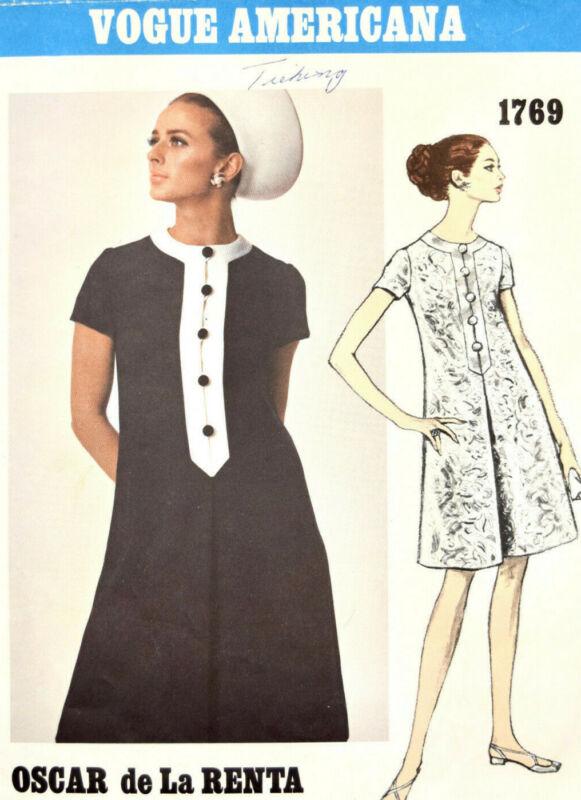 Vogue Americana Oscar de La Renta Sewing Pattern sz12 Dress 1769 Vintage 1960