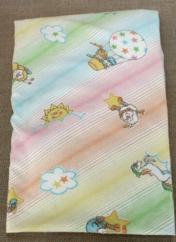 Vintage RAINBOW BRITE CRIB SHEET Flannel Dundee Mills Baby Toddler Fitted Sheet
