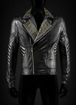 New Versace Golden Silver Studded Mens Black Cowhide Leather Jacket