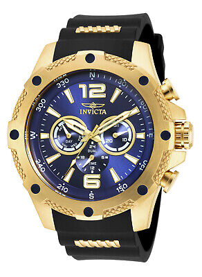 Invicta 19659 Gent's Steel & Polyurethane Strap Blue Dial Watch